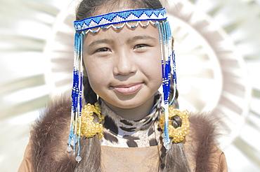 Inuit young Female of Koryaks peoples in native clothes, Ossora Village (Koryakskiy Peninsular) Russia, Asia