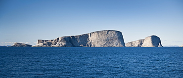 Onboard the clipper Adventurer, looking out to Monumental Island, Baffin Island, Canada, North America