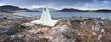 Land mark stone, and view of harbour. Cape Dorset, Baffin Island, Qikiqtaaluk, Nunavut, Canada, North America
