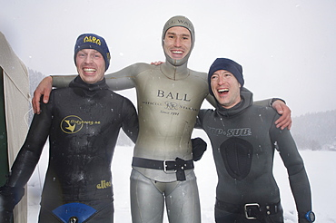 Christian Ernist (Sweden)  Gullaume Nery (France ) & Christian maldame (France after  the Oslo Ice Challenge 2009. from left to right 2nd, 1st, 3rd place. Oslo, Norway