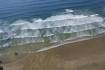waves on Cornish beach. Cornwall, UK