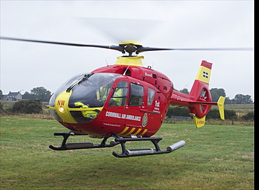 Cornwall air ambalance helecopter. Cornwall UK