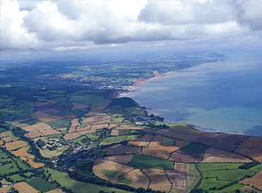 aerial views over Devon looking over Sidmouth. Devon Uk