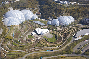 Aerial view of the Eden Project. St Austel, Cornwall. England. UK