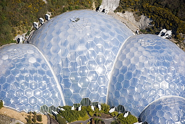 Aerial view of the Eden Project. St Austell, Cornwall. England. UK