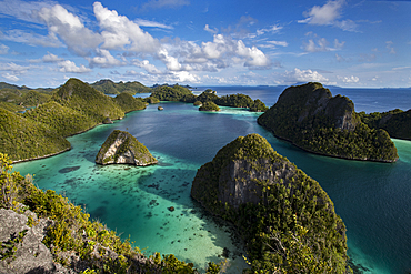 Aerial view of lagoon and karst limestone formations in Wayag Island, Raja Ampat, West Papua, Indonesia, Southeast Asia, Asia