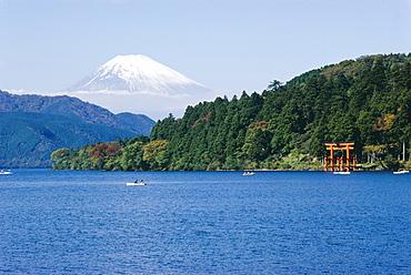 Lake Ashino-ko, Mt. Fuji in the background, Japan