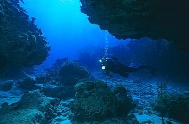 Diver in Carvern. Cayman Islands.