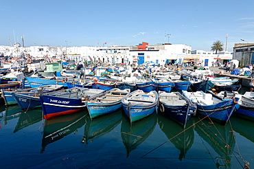 Small inshore fishing boats in Tangier fishing harbour, Tangier, Morocco, North Africa, Africa