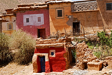 Colourful village houses in the High Atlas Mountains, Morocco, North Africa, Africa