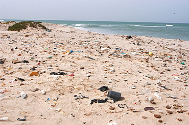 Litter washed up on beach, Southern Morocco   (RR)