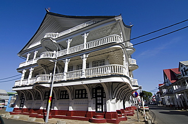 Recently constructed house in the traditional style of Paramaribo, Suriname, South America
