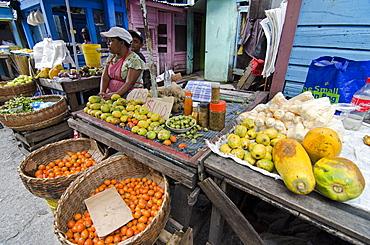 Fruit and vegetable stall in Stabroek Market, Georgetown, Guyana, South America