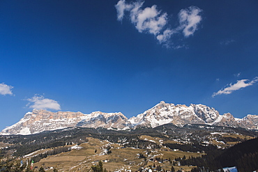 View of the Dolomites from La Ila, Alta Badia, Dolomites, UNESCO World Heritage Site, South Tyrol, Italy, Europe