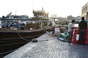 Free-trade port Dubai Creek, with dhows piled high with a range of goods, Dubai, United Arab Emirates, Middle East