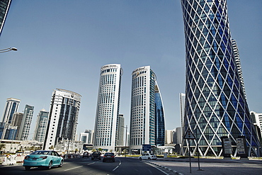 Downtown Doha with its impressive skyline of skyscrapers, Doha, Qatar, Middle East