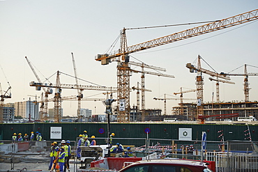 Msheireb Downtown Doha construction site of project setting in place a blueprint for sustainable urban regeneration, Qatar, Middle East