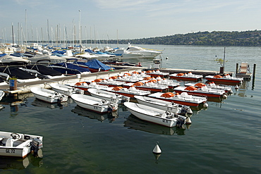 Boats moored up on Lake Geneva. Geneva, Switzerland