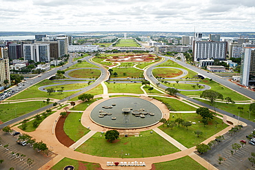 View of the monumental axis with the government buildings in the distance including National Congress and hotel sectors, Brasilia, UNESCO World Heritage Site, Brazil, South America