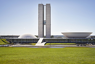 National Congress designed by Oscar Niemeyer in 1958 epitomises the design ethic and is at the heart of the Pilot Plan, UNESCO World Heritage Site, Brasilia, Brazil, South America
