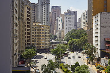 Cento Sao Paulo, traditionally the commercial heart of the city, but its buildings are now starting to look dated and run down, Sao Paulo, Brazil, South America