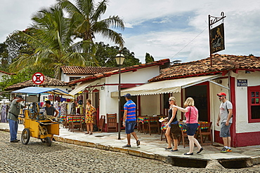 Colonial architecture in the old town, Pirenopolis, a town located in the Brazilian state of Goias, Brazil, South America