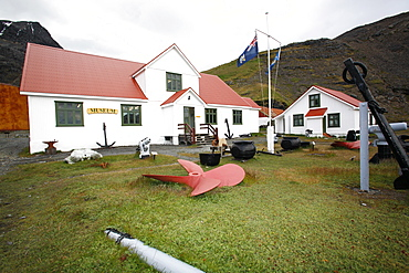 The new whaling museum and abandoned machinery at the Grytviken whaling station