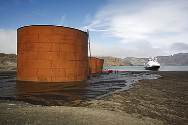 The National Geographic Endeavour anchored at the old Norwegian whaling station at Whaler's Cove, Deception Island