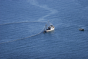 Aerial view of the purse-seiner fishery for salmon off Point Augustus, Chichagof Island, Southeast Alaska, USA. Closing the purse.