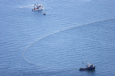 Aerial view of the purse-seiner fishery for salmon off Point Augustus, Chichagof Island, Southeast Alaska, USA.   (RR)