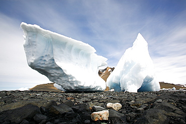 Grounded iceberg detail in and around the Antarctic Peninsula during the summer months. More icebergs are being created as global warming is causing the breakup of major ice sheets.