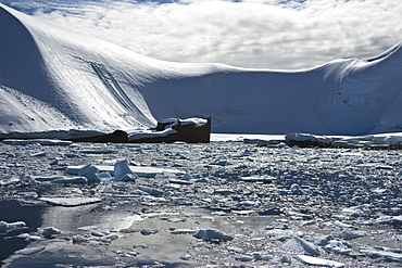 A view of the wreck of the Norwegian whaler Gubernor on the west side of the Antarctic Peninsula.