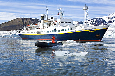 The expedition travel ship National Geographic Endeavour and Zodiac working near Spitsbergen in the Barents Sea, Norway.