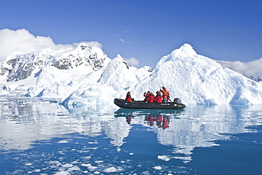 The Lindblad expedition ship National Geographic Endeavour operating with it's fleet of Zodiacs operating in and around the Antarctic peninsula, Antarctica.