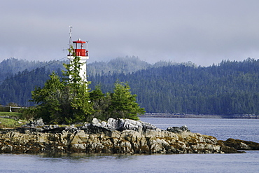 An unmanned lighthouse and weather station along the inside passage in British Columbia, Canada.