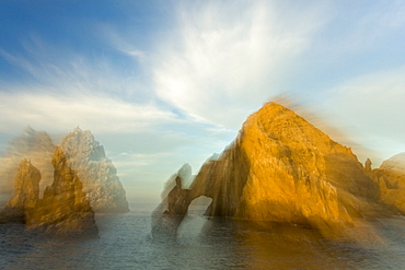A view of Land's End (finisterra in Spanish), the famous granite arch formation just outside the harbor in Cabo San Lucas, Baja California Sur, Mexico.