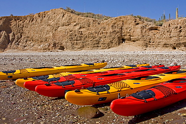 Kayaking on Isla Angel de la Guarda in the upper Gulf of California (Sea of Cortez), Baja California Norte, Mexico. No model or property releases for thi image.