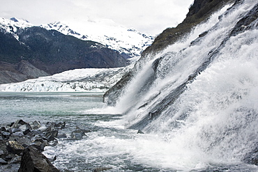 Views of Mendenhall Glacier just outside Juneau, southeast Alaska, USA. This glacier is receeding at an alarming rate, probably due to climate change.