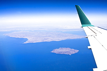 Aerial view of Isla San Esteban (foreground) and Isla Tiburon - the largest island in the Gulf of California (Sea of Cortez), Sonora, Mexico taken from a commercial flight.