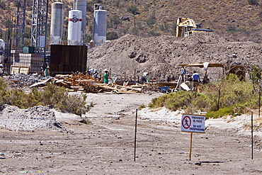 A new resort being built in the Sonoran desert below Las Gigantas mountain range in the Gulf of California (Sea of Cortez) just outside of Loreto, Baja California Sur, Mexico