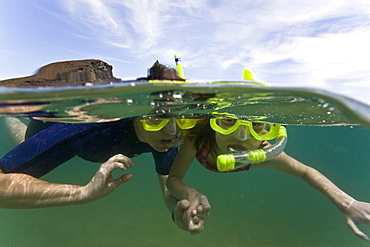 Lindblad Expeditions Guests doing fun and exciting things in the Galapagos Island Archipeligo, Ecuador. Model release number SMB0509.