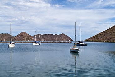 Views of the new (2009) marina still under construction at Puerto Escondido, Baja California Sur, Mexico.