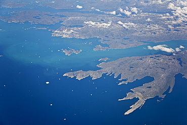 Aerial view of the west coast of Greenland