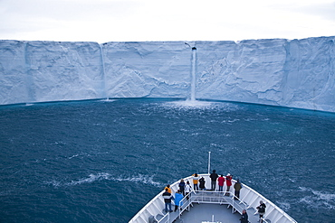 Views of Austfonna ice cap from the bow of the National Geographic Explorer, located on Nordaustlandet in the Svalbard archipelago in Norway