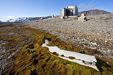 A view of the abandoned bowhead whaling station with bones strewn about in Hornsund (Horn Sound) on the southwestern side of Spitsbergen Island in the Svalbard Archipelago, Barents Sea, Norway.