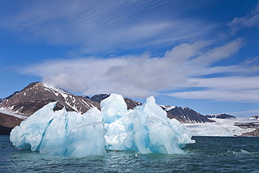 Calved icebergs from the glaciers at Blomstrandhalvîya in Kongsfjord on the western side of Spitsbergen in the Svalbard Archipelago, Norway.