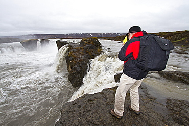 A view of Godafoss (Icelandic: waterfall of the gods), Iceland