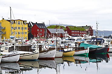 Views of the town of Thorshavn on Streymoy Island in the Faroe Islands