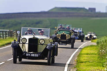 Car Rally at St Magnus Cathedral in Kirkwall Orkney Island, Scotland