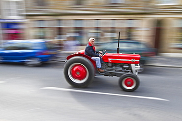Tractor rally at St Magnus Cathedral in Kirkwall Orkney Island, Scotland